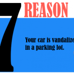 Your car is vandalized in a parking lot.