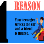 Your teenager wrecks the car and a friend is injured.