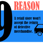 A retail store won't accept the return of defective merchandise.